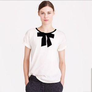 EUC J. Crew Bow Tie neck T-Shirt Roll sleeves S